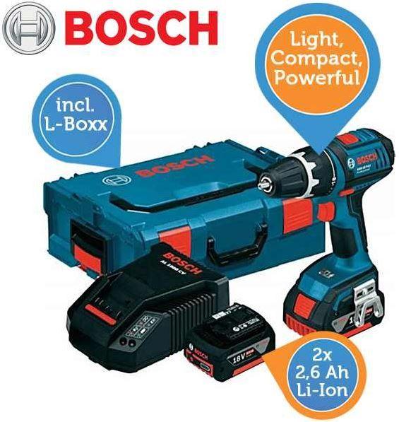 Bosch Bosch GSR 18 V LI Professional + 2 x 2,6Ah Akku + Bosch L Box für 208,90€