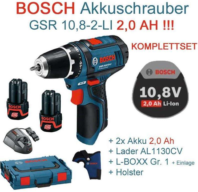 Bosch3 BOSCH GSR 10,8 2 LI Professional Akku Bohrer Set mit Zubehör für 118,99€   Update!