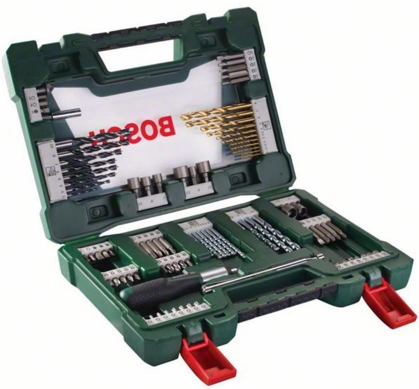 Bosch 91 tlg. TiN Bohrer und Bit Set mit Ratsche und Magnetstab für 24,91€