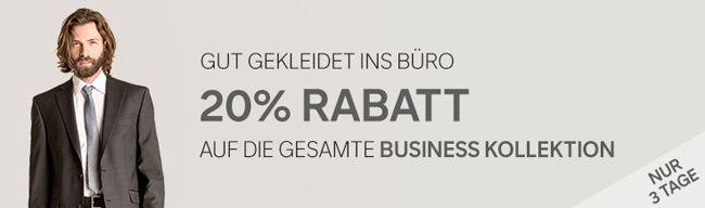 Business Kollektion 20% Rabatt auf die Business Kollektion bei C&A + 10% Newsletter Gutschein