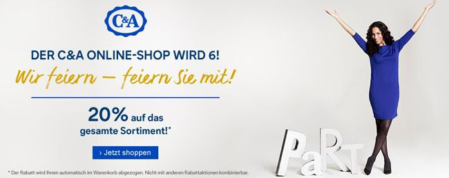 C und A Geburtstag Ganze 20% Rabatt auf ALLES im C&A Online Shop + VSK frei + neuer SALE!   Update