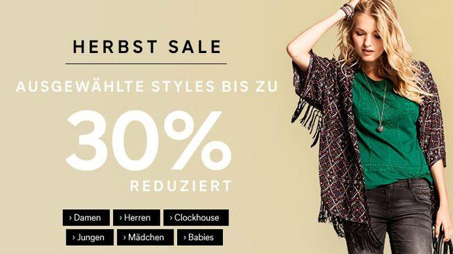 C&A Herbst Sale mit bis zu 30% Rabatt auf ausgewählte Styles + 10% Gutschein