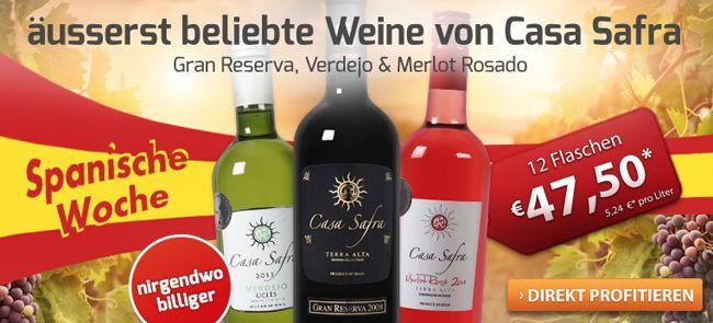 12 Flaschen Casa Safra in rot, weiß oder rosé für 39€