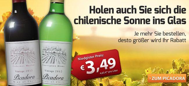 12er Paket Chilenischer Rotwein oder Weißwein nur 33,38€