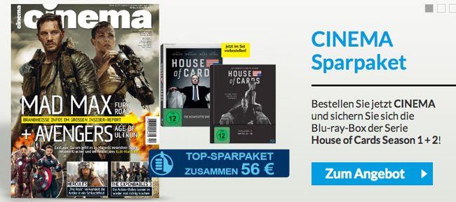 Cinema Jahresabo + House of Cards Staffel 1 und 2 auf Blu ray für 56€   Update!