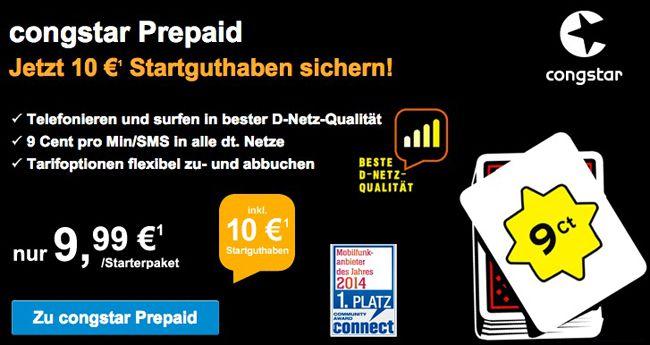 Congstar Prepaid Karte mit 10€ Startguthaben für 4€ (Neukunden!)   z.B. für PSN verwendbar