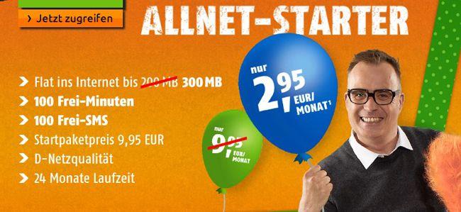 Crash Tarife Allnet Starter Tarif Knaller! Klarmobil Allnet Starter Tarif (D Netz, 100 Minuten, 100 SMS, 300MB) für nur 2,95€ monatlich   Update!
