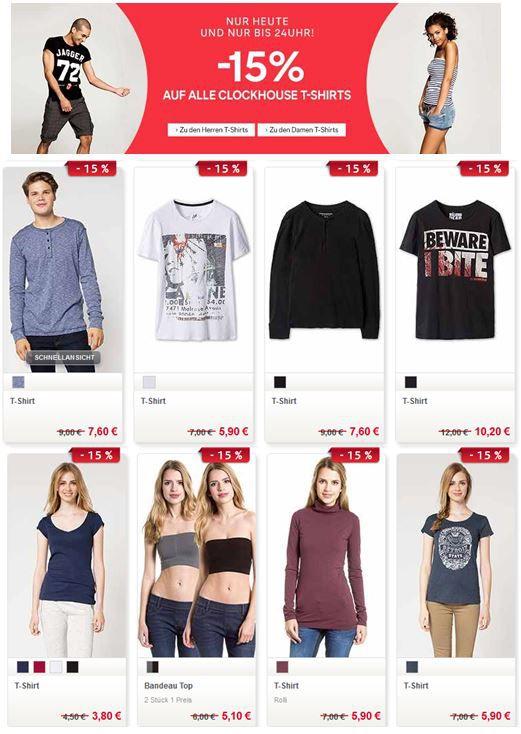 C&A Clockhouse T Shirts mit 15% Rabatt bis Mitternacht!