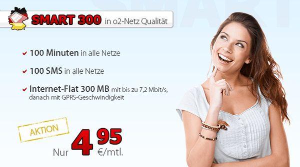 DeutschlandSIM Smart 300 DeutschlandSIM Smart 300 im o2 Netz (100 Minuten, 100 SMS, 300MB Internet) für 4,95€ monatlich