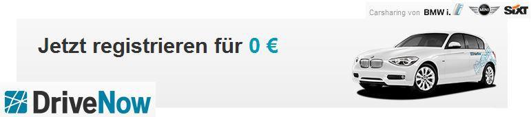 DriveNow CarSharing Anmeldung statt 29,99€ jetzt kostenlos!
