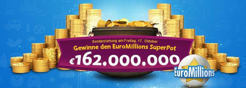 Gratis: 1 Tippfeld für die EuroMillions kostenlos für Lottoland Neukunden   Jackpot bei 162Mio.   Update
