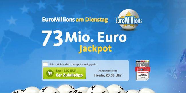 EuroMillions Gratis: 1 Tippfeld für die EuroMillions kostenlos für Lottoland Neukunden   heutiger Jackpot bei 73 Mio.