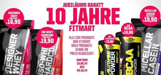 Fitmart Jubiläum Jubiläums Rabatt bei Fitmart   z.B. ESN Designer Whey für 16,05€ statt 21€