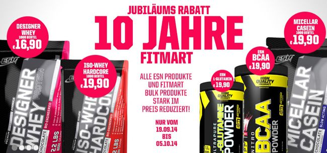 Jubiläums Rabatt bei Fitmart   z.B. ESN Designer Whey für 16,05€ statt 21€