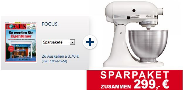 Fokus KitchenAid Classic 5K45SSEWH + Halbjahresabo Focus im Wert von 475€ für 299€