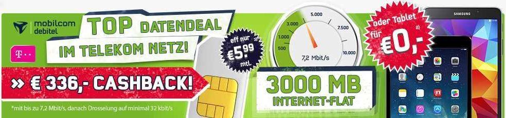 Getmobile Telekom 3GB Daten Flatrate inkl. Hotspotflatrate für effektiv 5,99€