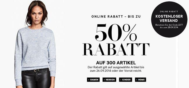 Bis zu 50% Rabatt auf 300 ausgewählte Artikel im H&M Online Shop