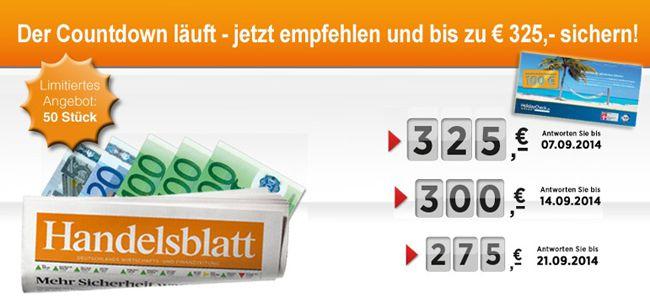 Jahresabo der Finanzzeitung Handelsblatt für nur effektiv 174€ dank hoher Prämie