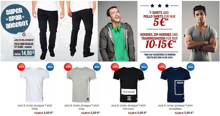 T Shirts und Poloshirts für 5€   neue Hoodboyz Aktion z.B. Jack & Jones Field Jeans ab 14,90€ + VSK frei ab 50€