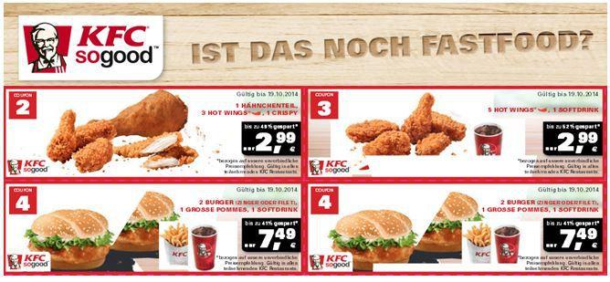 KFC Kentucky Fried Chicken   KFC aktuelle Rabattgutscheine zum ausdrucken