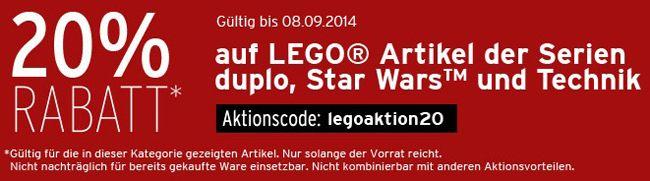 Lego Rabatt 20% Rabatt auf Lego Artikel der Serien Duplo, Star Wars und Technik