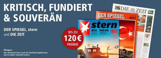 Jahresabo vom Stern, Der Spiegel oder Die Zeit mit Prämien von bis zu 120€