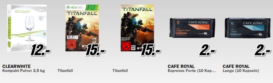 Media Markt Restposten Aktion Tag 2: z.B. Game: Titanfall [PC]/[X360] für 15€ und viel mehr