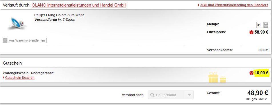 MP Gutscheincode Philips LivingColors Aura Tischleuchte in weiß für 48,90€   dank neuen 10€ MeinPaket Gutschein (50€ MBW)