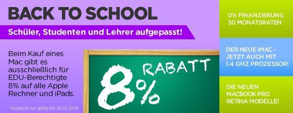 8% Education Rabatt auf Apple PCs, Notebooks und iPad Modelle bei Mactrade