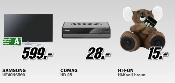 Media Markt Restposten Aktion: z.B. Samsung UE40H6590   40Zoll Smart TV für 599€