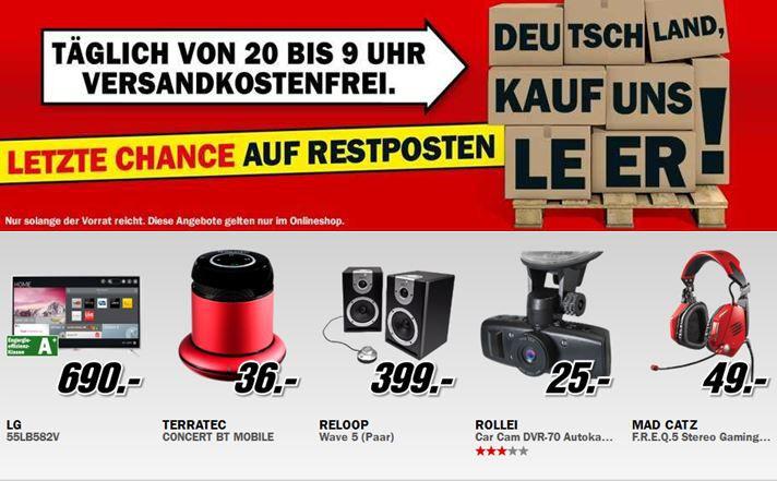 Media Markt2 Media Markt Restposten Aktion: z.B. LG 55Zoll Smart TV für 690€
