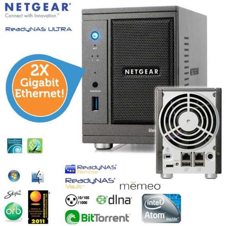 Netgear ReadyNAS Ultra 2 Netzwerkspeicher mit 2 x Gigabit Ethernet für 65,90€   Update
