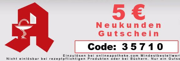 OnlineApotheke 5€ Neukunden Rabatt für die Online Apotheke mit 10€ MBW   ab 25€ versandkostenfrei