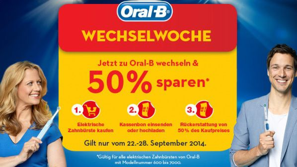 Oral B Top! 50% Cashback auf ausgewählte Oral B Zahnbürsten   Update