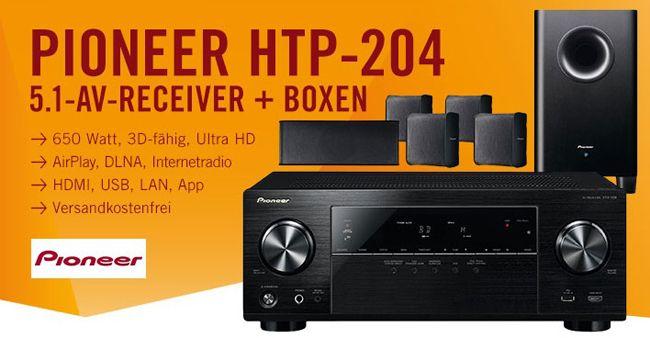 Pioneer HTP 204 Pioneer HTP 204 5.1 AV Receiver (DLNA, AirPlay, Radio) + 5.1 Lautsprecher für 349€