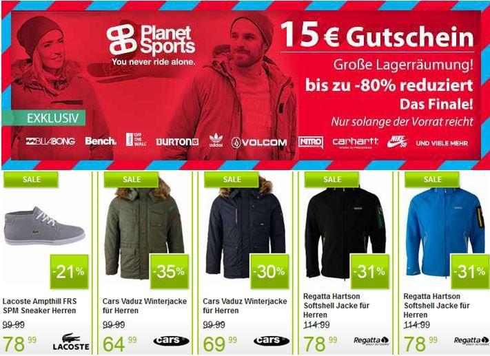 Planet Sports   Lager Räumungs Sale mit fetten Rabatten bis zu 80% + 15€ Gutscheincode mit 100€ MBW
