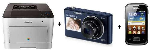 Samsung Bundle Samsung CLP 680DW/SEE Farblaser Drucker + DV150F Smart Digitalkamera + Galaxy Pocket Plus statt 446€ für 298,63€