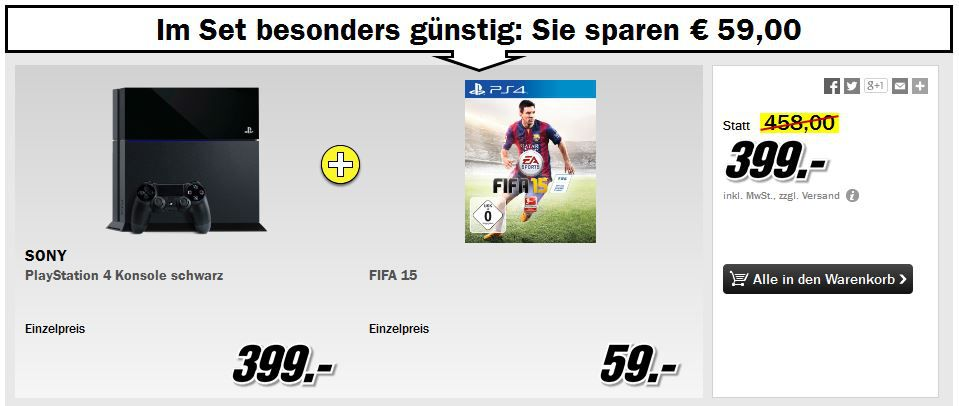 Media Markt Restposten Aktion: z.B. PS4 + FIFA 15 für 399€