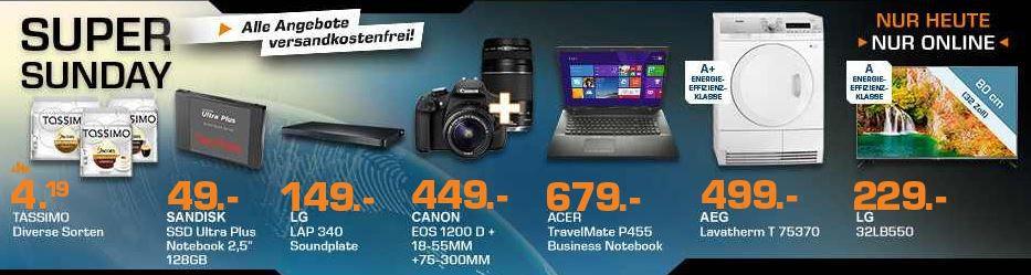 CANON EOS 1200D+18 55mm+75 300mm statt 575 für 449€ und mehr Saturn Super Sunday Angebote