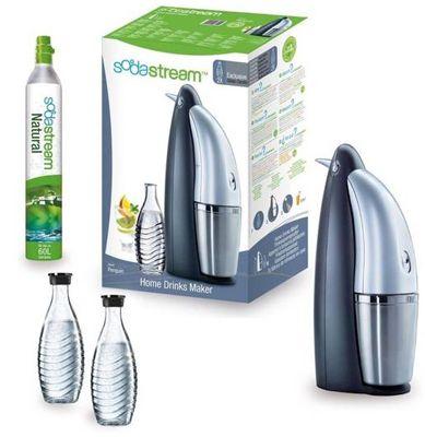 Sodastream Penguin Wassersprudler Sodastream Penguin Wassersprudler + SST Zylinder und 2 Glaskaraffen für 87,30€ (statt 123€)