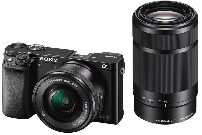 Sony Sony Alpha 6000 Systemkamera mit 24 MP + Objektiven SEL P1650 + SEL 55210  für nur 728,39€