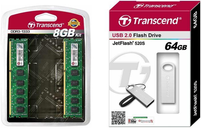 Transcend Arbeitsspeicher 8GB DDR4 (2x4GB) für 73,90€ + Transcend JetFlash 520S   64GB Speicherstick für 22,99€