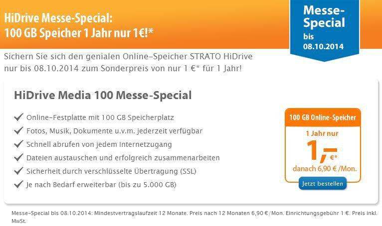 strato HiDrive   100GB Cloudspeicher statt 60€ für nur 1€/Jahr   Update!