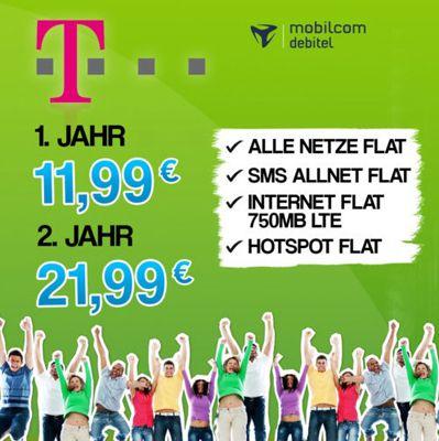 T Mobile Complete Comfort M (Allnet Flat, SMS Flat, 750MB LTE, Hotspot Flat) für 16,99€ monatlich