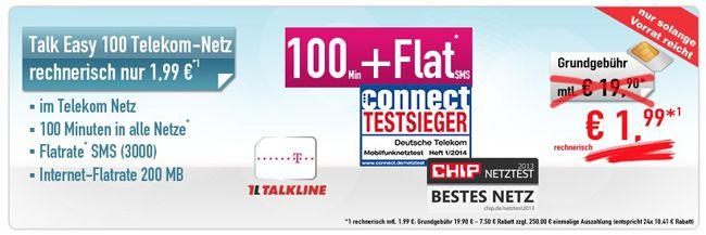 Telekom Talkline Talk Easy 100 Telekom Talkline Talk Easy 100 Vertrag   dank Auszahlung nur 1,99€ monatl. Kosten   Update