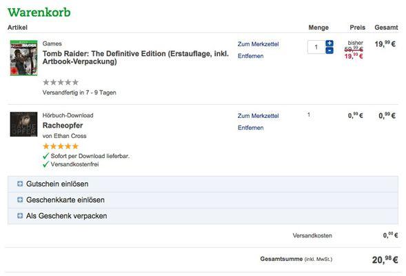 Thalia Warenkorb Tomb Raider: The Definitive Edition (Xbox One, Erstauflage + Artbook Verpackung) für 20,98€