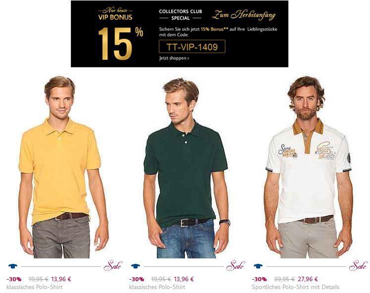 Tom Tailor Tom Tailor   nur heute 15% Rabatt und VSK frei   Polo Shirts ab 12,98€
