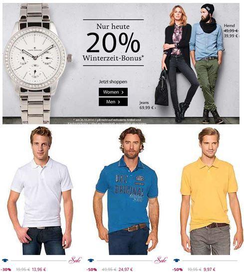 Tom Tailor   nur heute 20% Rabatt nur heute   Shirts ab 6,47€  Update