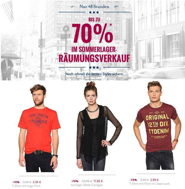 TomTailor  2 Tage Aktion Sommer Räumungsverkauf mit bis zu 70% Rabatt!   Update