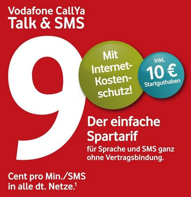 Vodafone Callya Schnell! Vodafone Callya Prepaid Karte mit 10€ Startguthaben für nur 3,99€   z.B. PSN Konto günstig aufladen